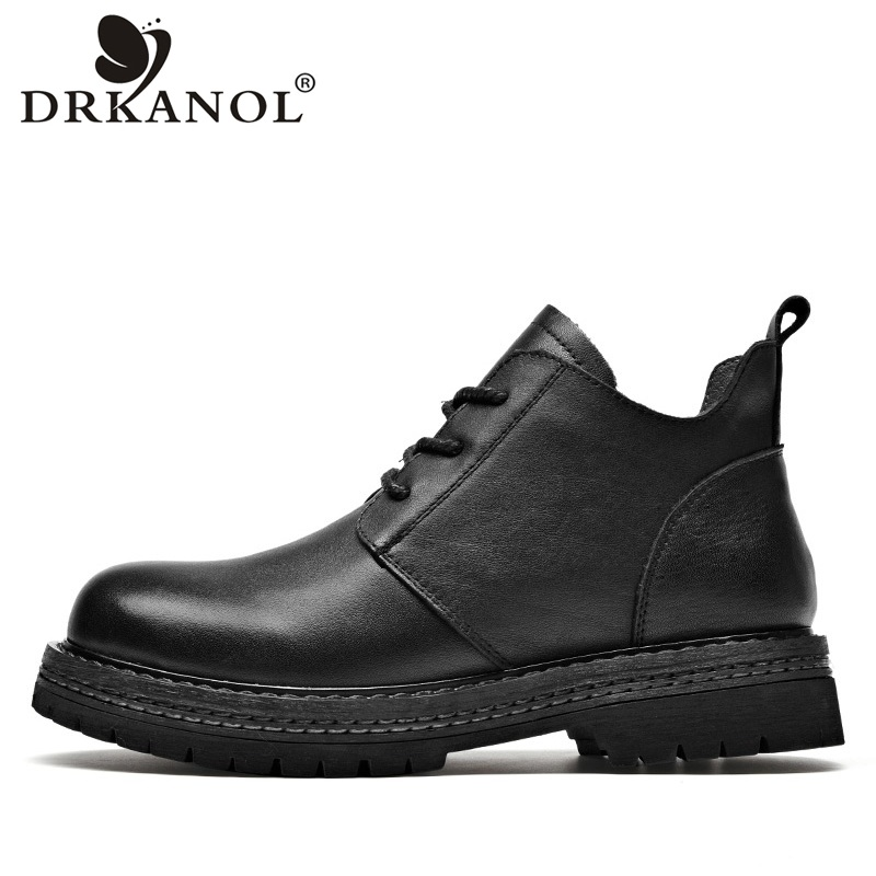 DRKANOL Handmade Genuine Leather Flats Women Boots Autumn Winter Warm Waterproof Platform Ankle Boots For Women Casual Boots
