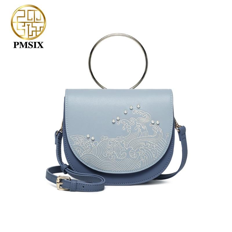 Pmsix 2019 nouveaux sacs à main De mode pour les femmes broderie perle peau De vache messenger sacs moraillon sac De mode un sac à main Bolsas De Couro