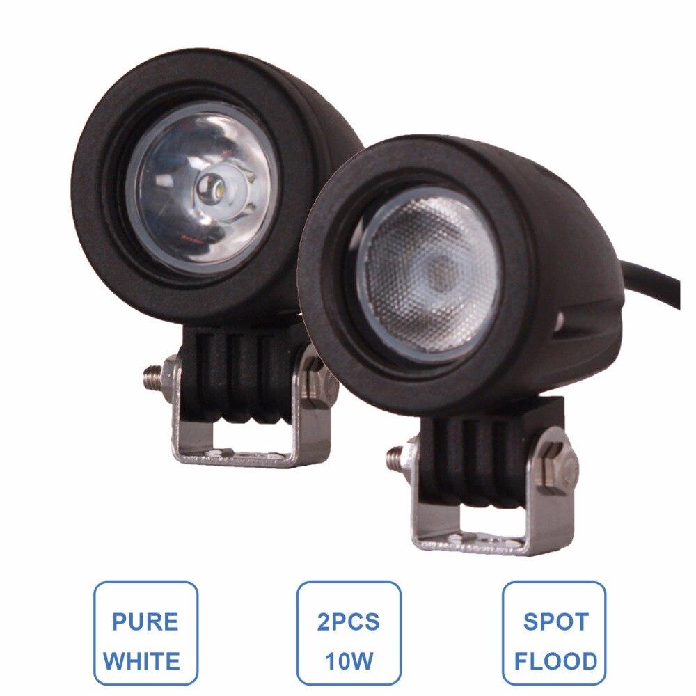2 unids 10 W LED trabajo luz 12 V 24 V auto SUV ATV 4WD AWD 4x4 bicicleta carro Offroad LED de conducción antiniebla motocicleta camión faro