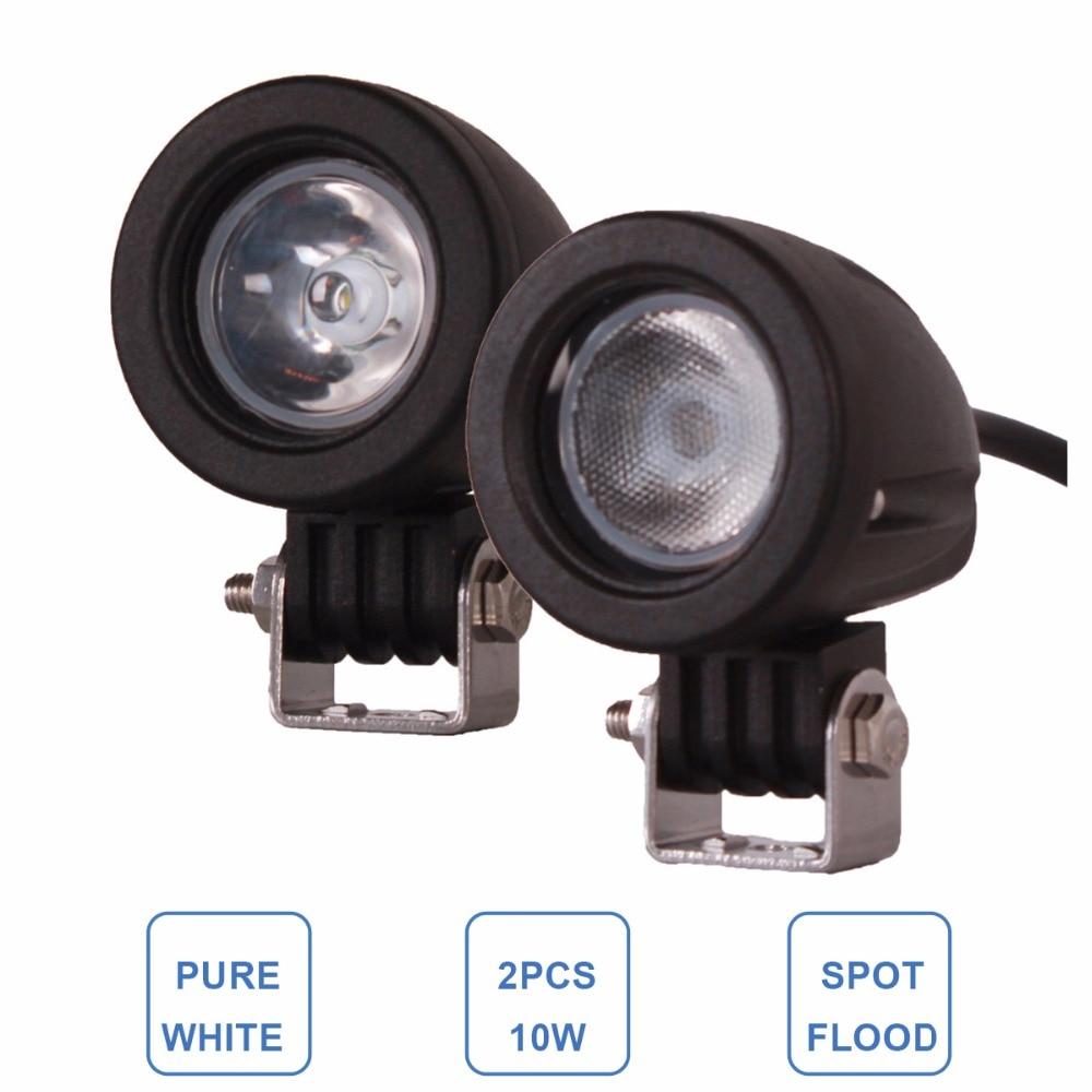 2db 10W LED-es munkavilágítású, 12 V-os, 24 V-os autós SUV ATV 4WD AWD 4X4 kerékpárkocsi Offroad extra vezetési ködlámpa motorkerékpár fényszóró