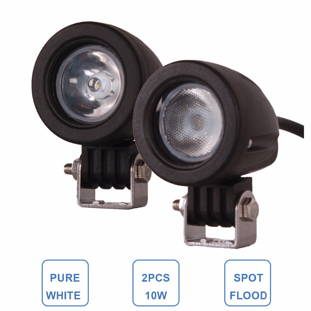 2gab. 10W LED darba gaisma, 12V, 24V, auto, auto SUV ATV 4WD AWD 4X4 Velosipēdu universālis Offroad Papildu braukšanas miglas lukturis Motocikla priekšējais lukturis