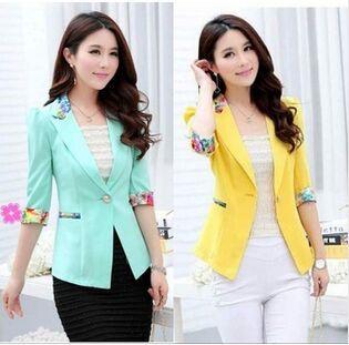Summer Fall 2019 Floral Blazer Three Quarter Sleeve Candy Blazer Women Flower Slim Office Suit Thin Coat Plus Size S-2XL Y79