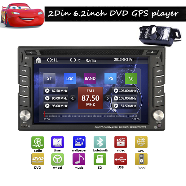 Backup Camera Windows CE 8 6.2'' HD GPS Navigation 2 Din Car Stereo DVD Player In dash Radio Bluetooth USB SD AUX iPod MP3 PC free rearview camera touch screen 2 din car cd dvd player gps navigation car stereo in dash auto radio supports bluetooth ipod
