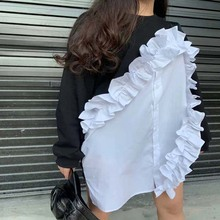 New Spring Autumn Casual O-Neck Long Sleeve Black Hit Color Patchwork White Ruffles Loose Irregular Sweatshirt Tops