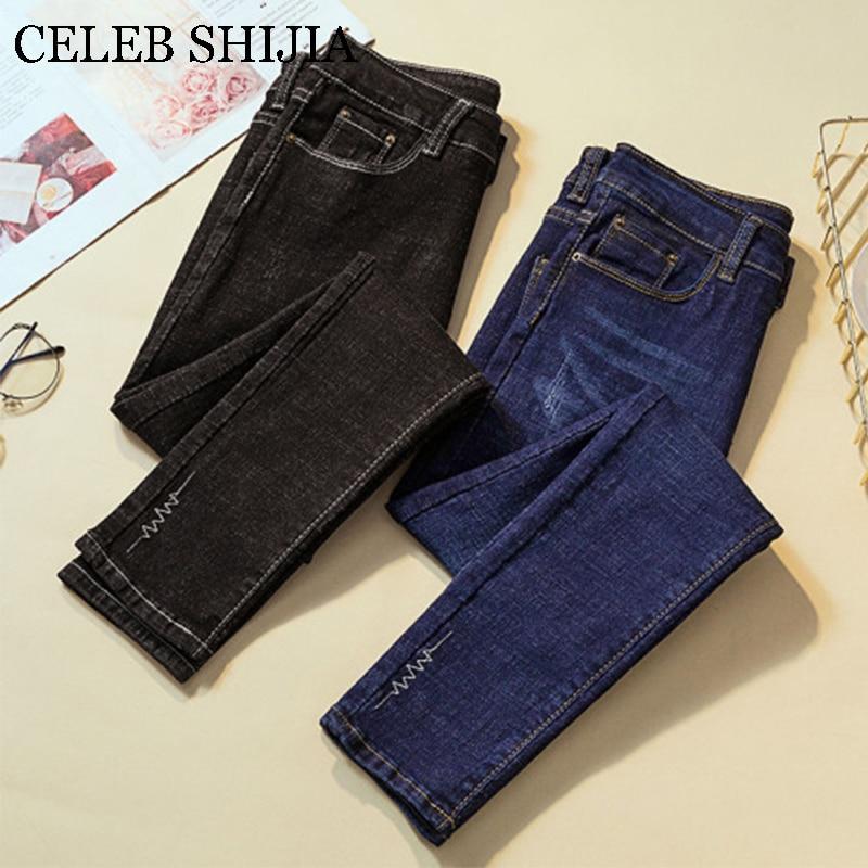 High Waist Elastic Jeans Female Skinny Black 2019 Womans Pencil Pants Donna Button Casual Denim Lady Plus Size