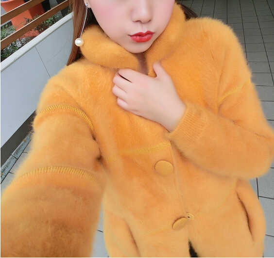 Новое поступление, модное пальто из натурального меха норки на пуговицах, Брендовое меховое пальто из натурального меха норки, бесплатная доставка, KFP553