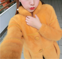 Fashion New Arrival Real Mink Fur Coat Button Natural Mink Fur Brand Fur Coat Free shipping KFP553