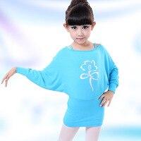 Nouveau Design Printemps D'été Confortable Coton Enfants À Manches Longues De Danse Robe Mode Élégante Manches Chauve-Souris Filles Gaine Robe