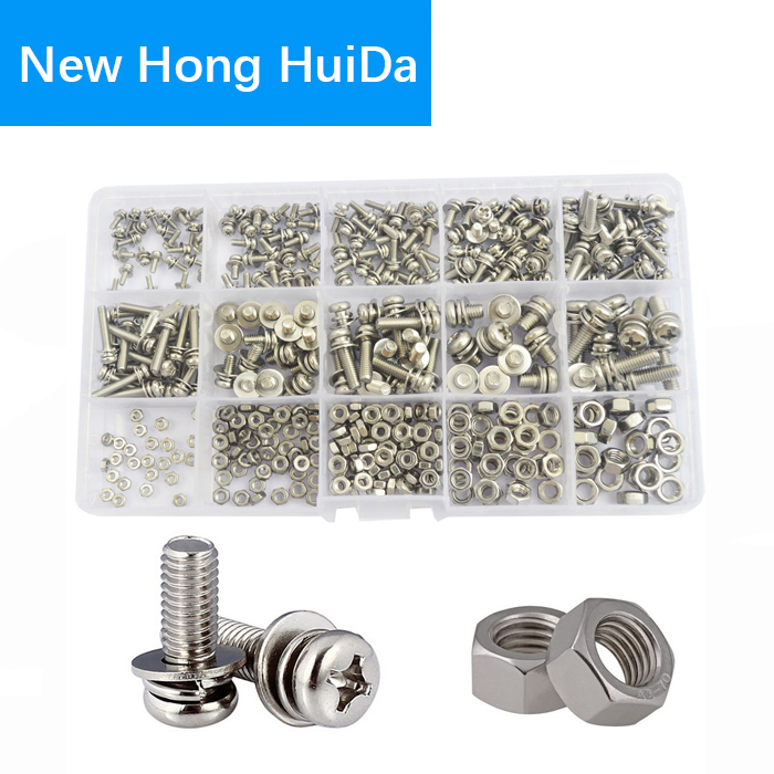 Pan Round Head Screw nut Washer Metric Phillips 304stainless Steel Combined Cross Machine Screw ,M2 M2.5 M3 M4 M5 Assortment kit m5 316 stainless steel phillips pan head machine screw marine grade