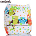 [simfamily]1PC Reusable Waterproof Minky Printed PUL Cloth Diaper Nappy Baby Double Gussets Suede Cloth Inner Wholesale Selling