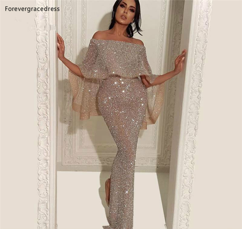 Sequins   Evening     Dresses   2019 Mermaid Floor Length Formal Women Holiday Wear Celebrity Party Gowns Plus Size Custom Made