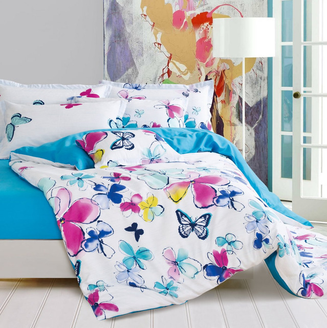 Butterfly Bed Set Floral Bed Linen Blue And White Comforters And Quilts  Cheap Girls Bed Cover