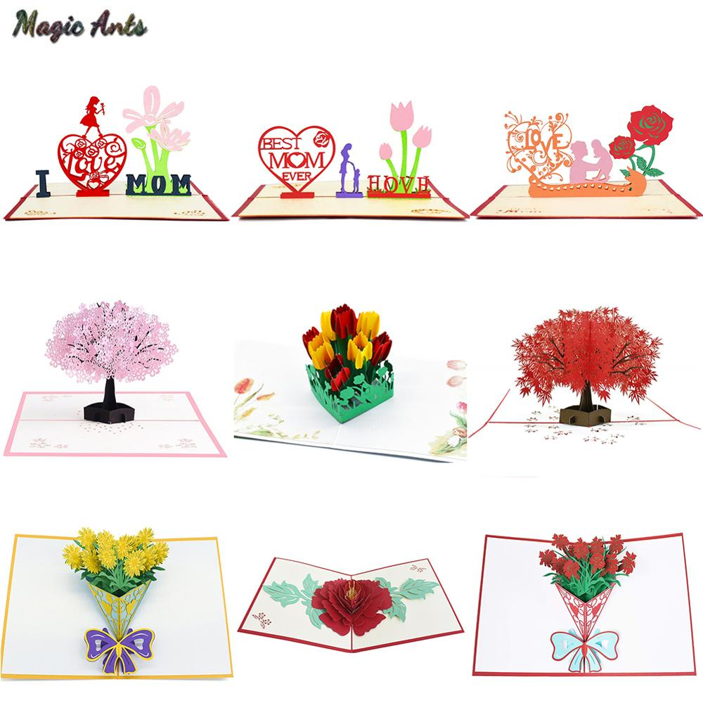 3D Pop Up Cards Mothers Day Gifts Card I Love Mom Carnation Flowers Bouquet Greeting Cards for Mother Birthday Card shelf