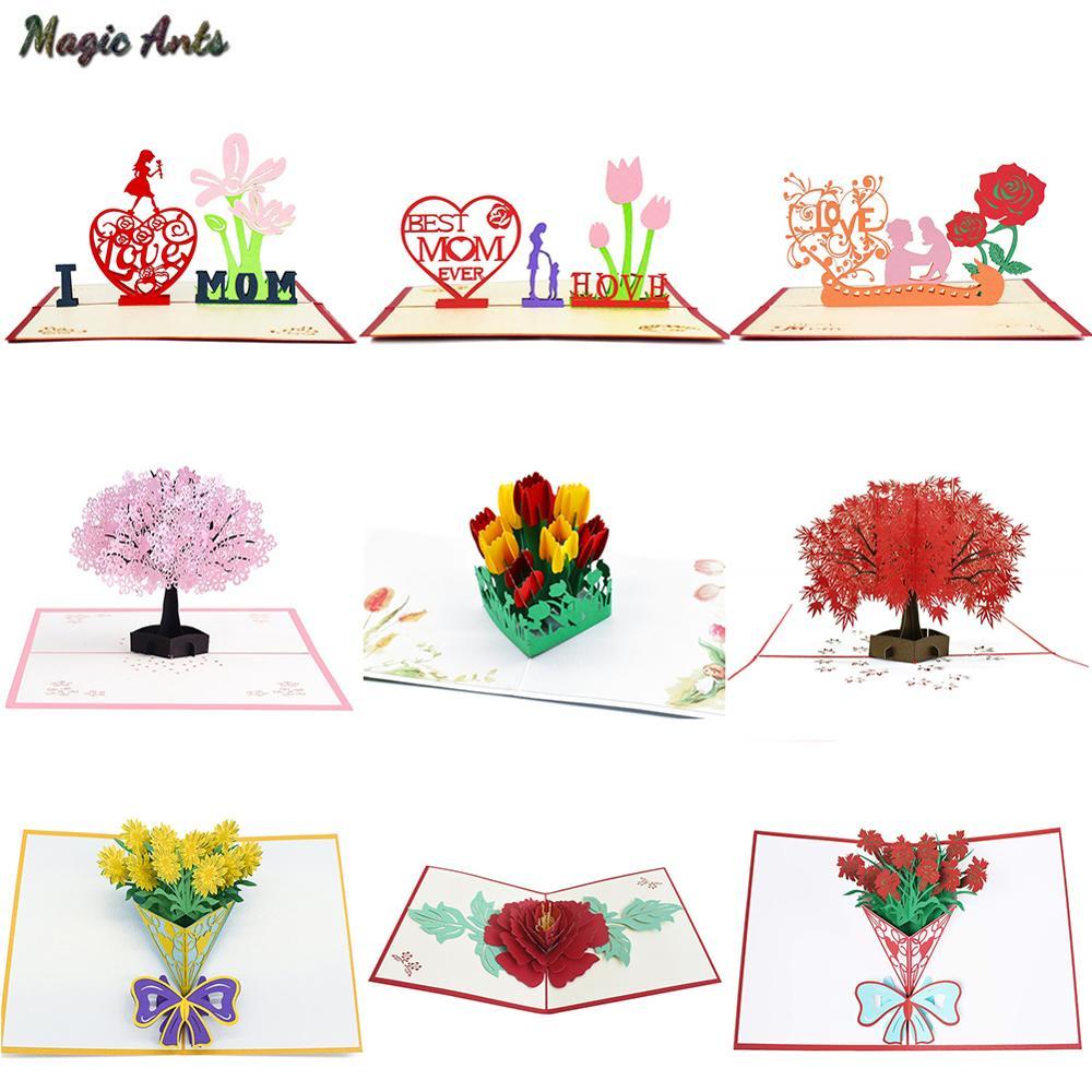 3D Pop Up บัตรวันแม่ของขวัญการ์ด I Love Mom คาร์เนชั่นดอกไม้ช่อดอกไม้การ์ดอวยพรสำหรับแม่การ์ดวันเกิด