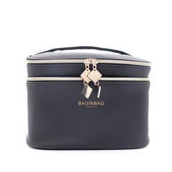 Fashion Black Cosmetic Bag Double Layer Make up Bags Cosmetiquera Bolso; Not Including Cosmetic; Size: 21*15.5*15cm