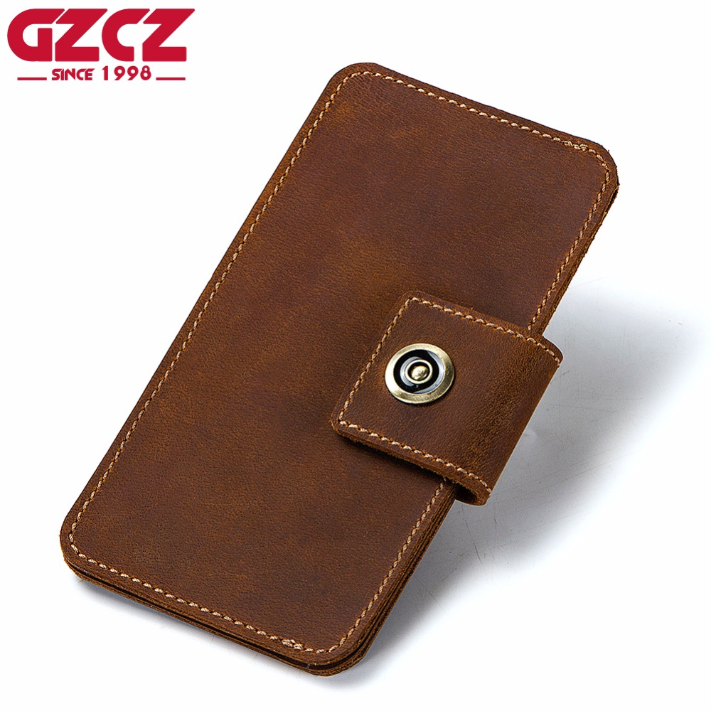 GZCZ Coin Purse Men Wallets Genuine Leather Famous Brand Rfid Klachi Male Vallet Organizer Cell Phone Clutch Money Bag Wristlets