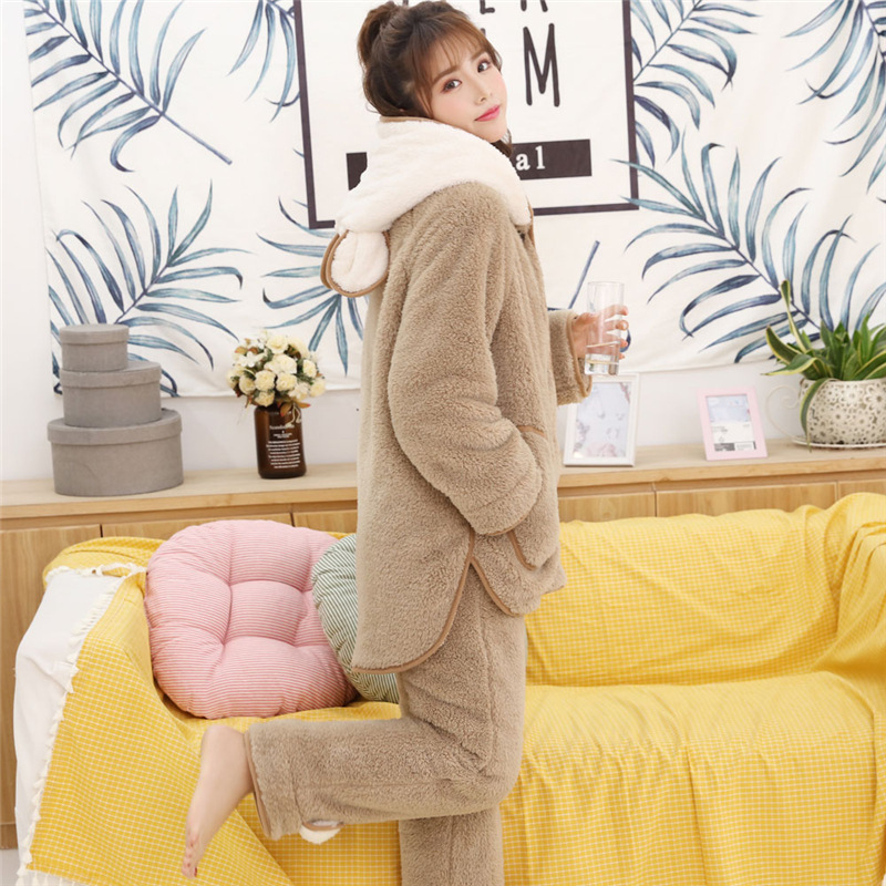2018 New Autumn Winter Warm Coral Velvet   Pajamas   Girl Sweet and Cute Bear Ear Korean Edition Home Wear Suit Women   Pajama     Set