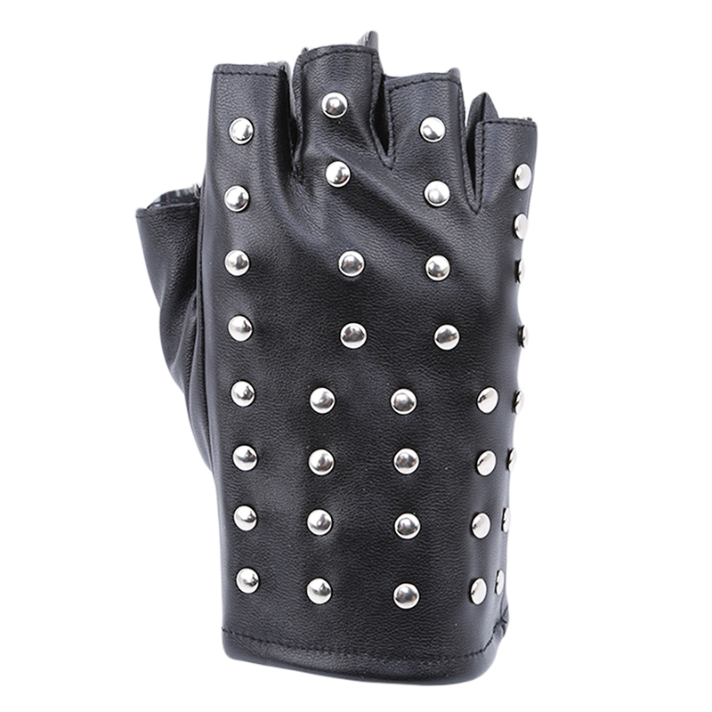 Fashion Womens Punk Gloves Half Finger PU Leather Gloves Tactical Fingerless Rivet Gloves Black Hip-hop Performance Gloves