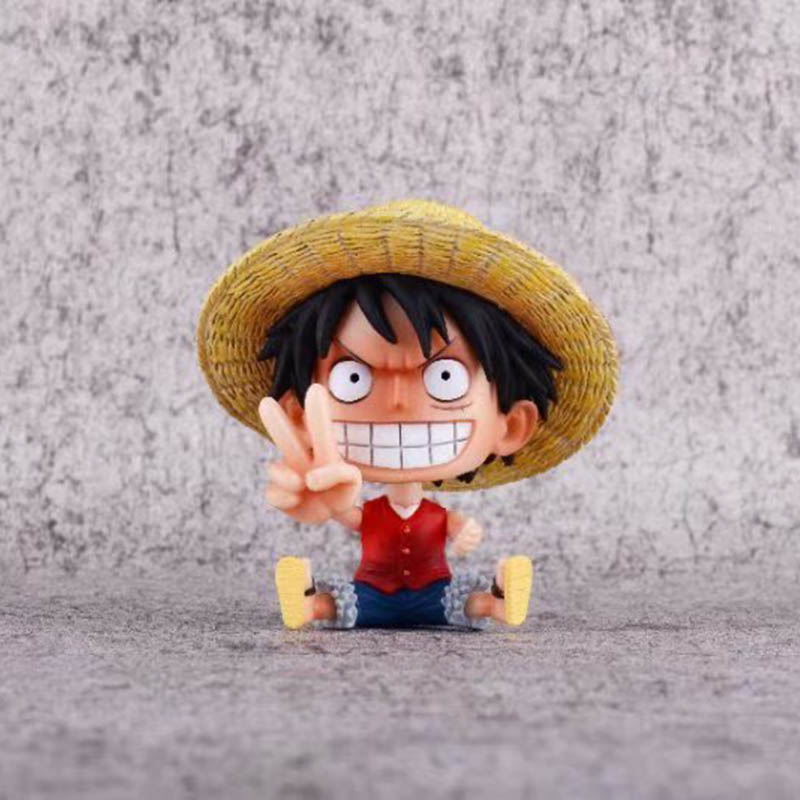 Sitting Monkey D Luffy Pvc Figure Toy Brinquedos Anime Delicious In Taste Lovely One Piece Luffy Mini Action Figure 1/10 Scale Painted Figure Victory Ver Action & Toy Figures