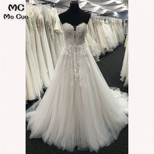 2018 Elegant Wedding Dresses with Crystals Sweep Train