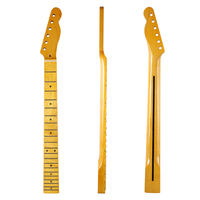 KAISH 21 Fret Glossy Canadian Maple Tele Guitar Neck With 10mm Tuner Holes Abalone Inlay And