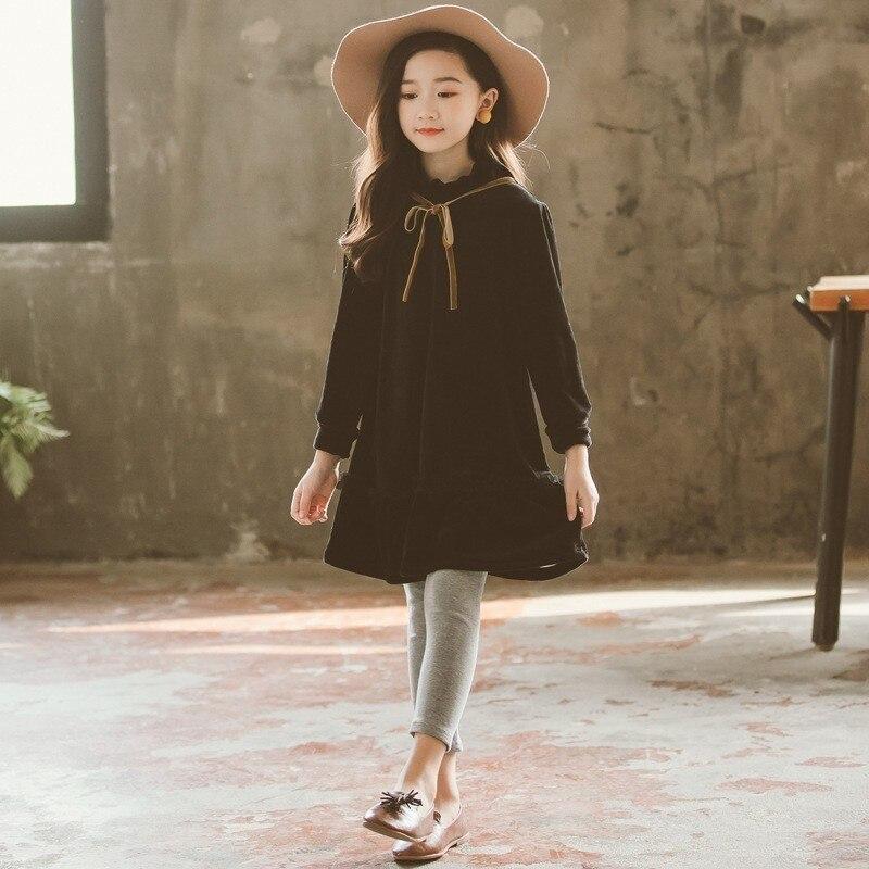 Бархатные зимние школьные платья для девочек подростков Лоскутное детское Черное Осеннее платье с длинными рукавами для девочек Детский бутик Рождество 2019