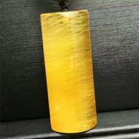 AAAAA Genuine Natural Gold Titanium Rutilated Quartz Crystal Pendant For Jewelry Making Barrel Shaped Necklace Charm