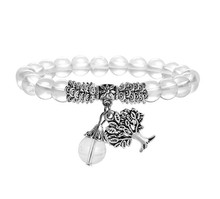 FYJS Unique Jewelry Silver Plated Tree of Life Connect Round Beads Natural Rock Crystal Stretchy Bracelet