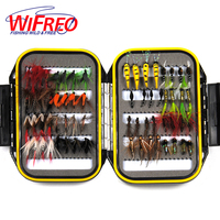64PCS Dry Wet Nymph Fly With Waterproof Fly Box Trout Fishing Lures Fishing Tackle Bait Mayfly