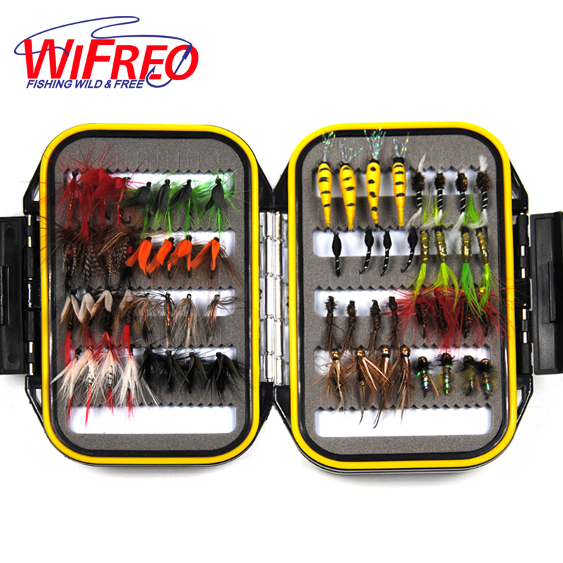 64PCS Dry & Wet Nymph Fly With Waterproof Fly <font><b>Box</b></font> Trout Fishing Lures Fishing Tackle Bait Mayfly Scud Pupa Peacock Prince Inside
