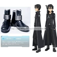 Men s shoes Sword Art Online Kirito Black PU Leather Cosplay shoes Free Shipping Anime
