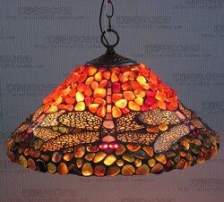 16 cal antyczne agat jade Dragonfly witraż lampa wisząca Tiffany w stylu wiejskim lampka nocna E27 110-240 V