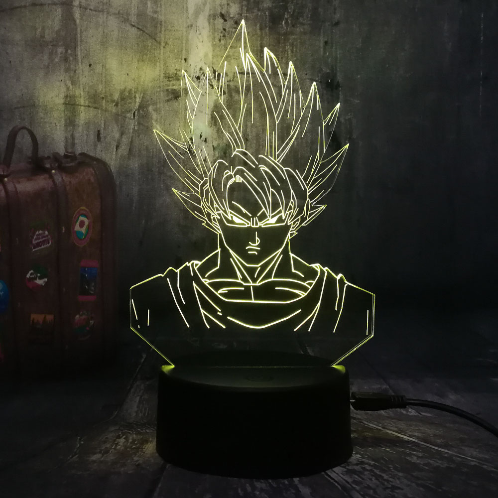Cartoon 3D LED Lamp Dragon Ball Super Saiyan God Son Goku Action Figures Table Lamp 7 Color Night Light Boys Christmas Gift Lava