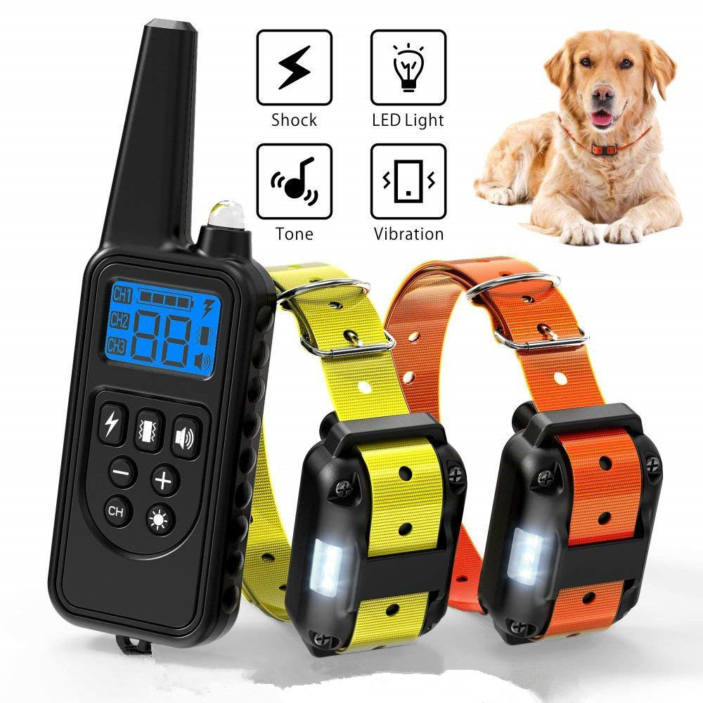 100 Waterproof Dog Training Collar Rechargeable Dog Shock Collar With 1300ft Extra Wide Remote Range Doggy Eletric Beep Collars Aliexpress