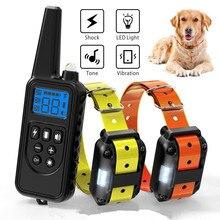 800 m eléctrico perro Collar de entrenamiento para mascotas Control remoto recargable impermeable con pantalla LCD para todo el tamaño Shock vibración sonido