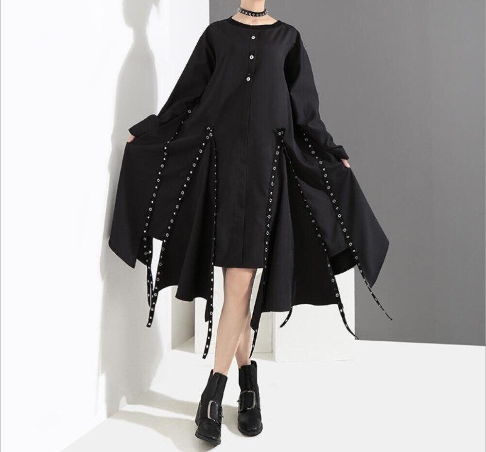 2018 automne hiver nouveau Harajuku femme o-cou lâche irrégulière robe gothique Rivet noir à manches longues robe Style Punk robe de mode