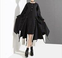 2018 autumn winter new Harajuku woman O Neck loose irregular dress Gothic Rivet black long sleeve dress Punk Style fashion dress