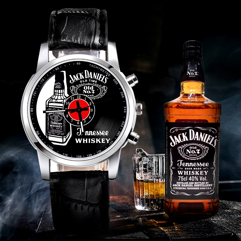 2018 Brand New 1pc Fashion JACK DANIELS whisky Casual Vinyl Record watch mens Leather ladies Women quartz watches