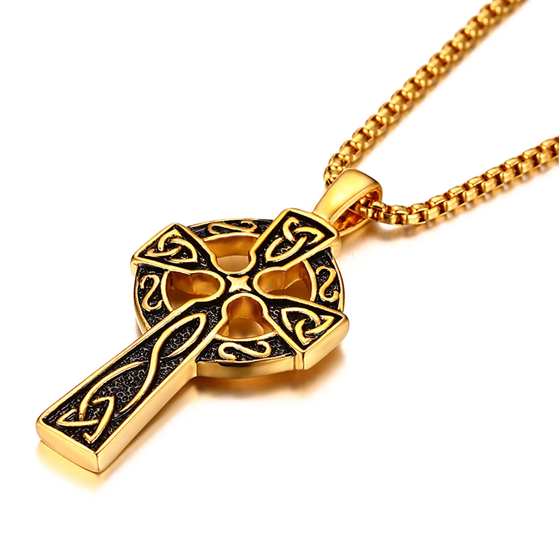 chain pendant hop men dropshipping link hip necklaces in color gift necklace steel stainless box male item jewelry cross from celtic for