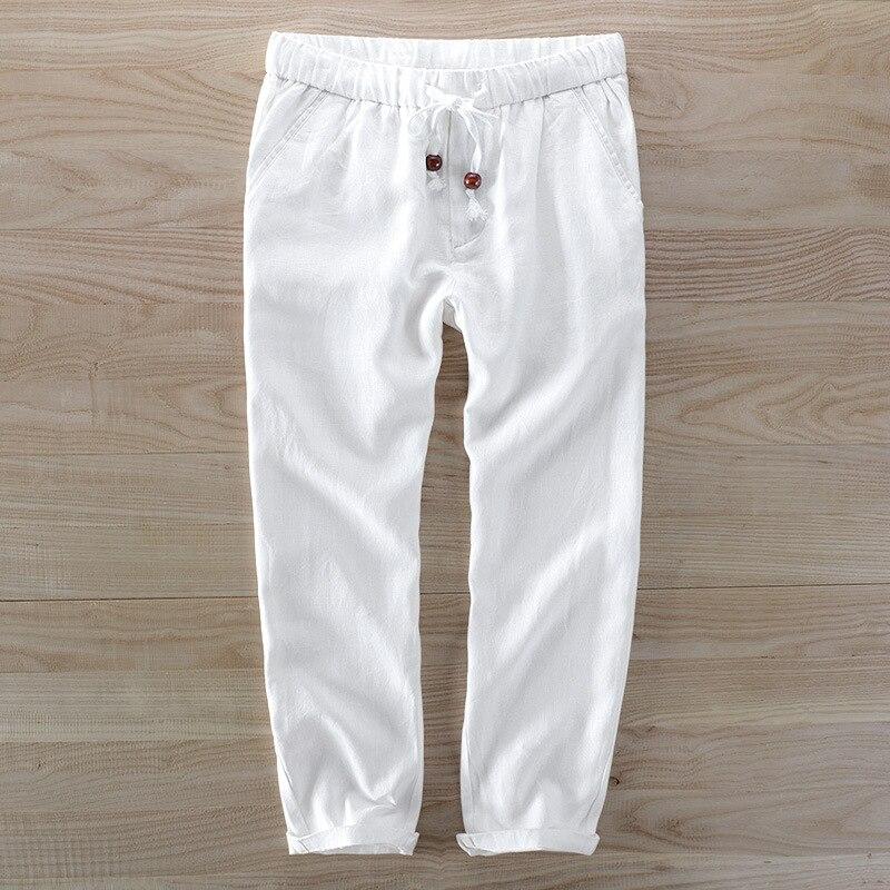 Analytisch Männer Länge Hosen 100% Leinen Lose Beiläufige Hosen Marke Mode Trousere Y659 Der Preis Bleibt Stabil