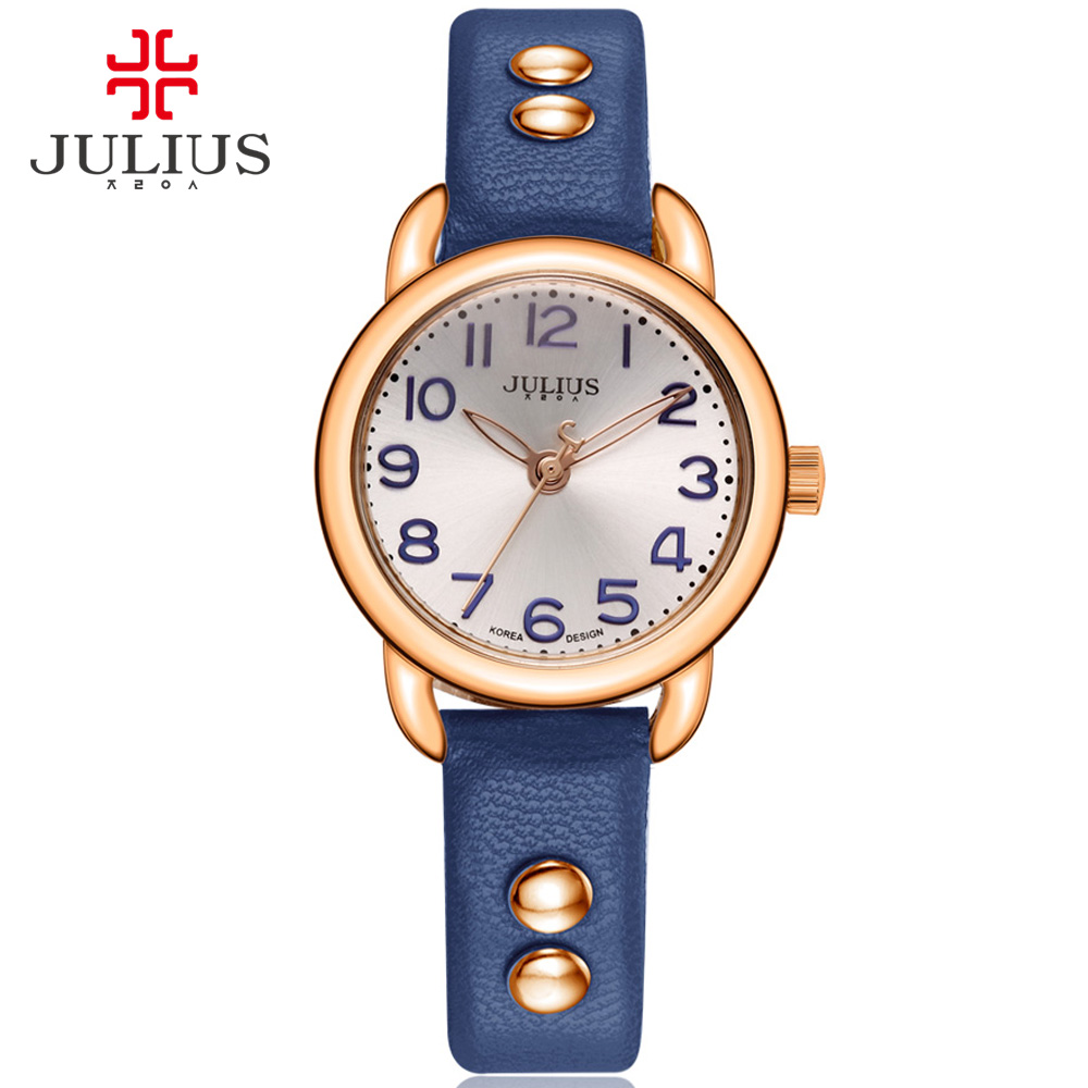 JULIUS Woman Watch Silver Easy Read Large Arabic Index Ladies Leather Strap Rose Gold Relojes Mujer Relogio Dropship JA-933