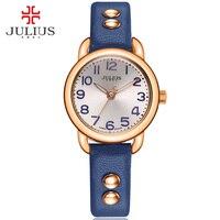 יוליוס שעון כסף קל לקרוא גדול אישה ערבית אינדקס רצועת עור גבירותיי רוז זהב Dropship Relogio Relojes Mujer JA-933