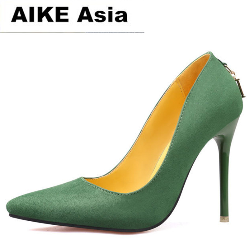 2017 Women Pumps <font><b>Sexy</b></font> High Heels <font><b>Shoes</b></font> Fashion Pointed Toe Wedding Shallow mouth pointed Green Classics <font><b>11</b></font> cm letter image