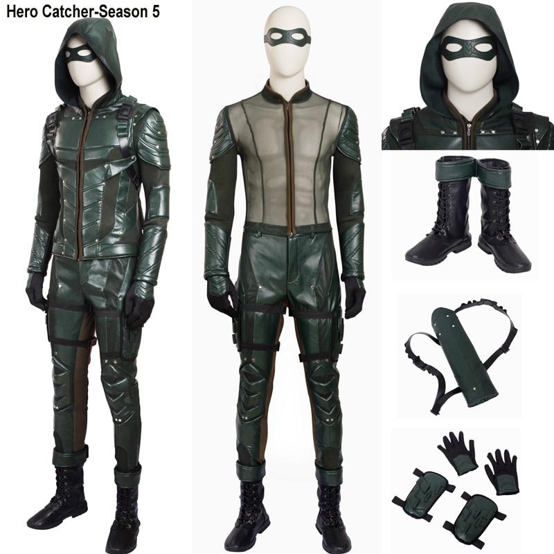Hero Catcher High Quality Arrow Season 5 Hero Costume Arrow Cosplay Costume Set Oliver Cosplay Costume Set Oliver Costume