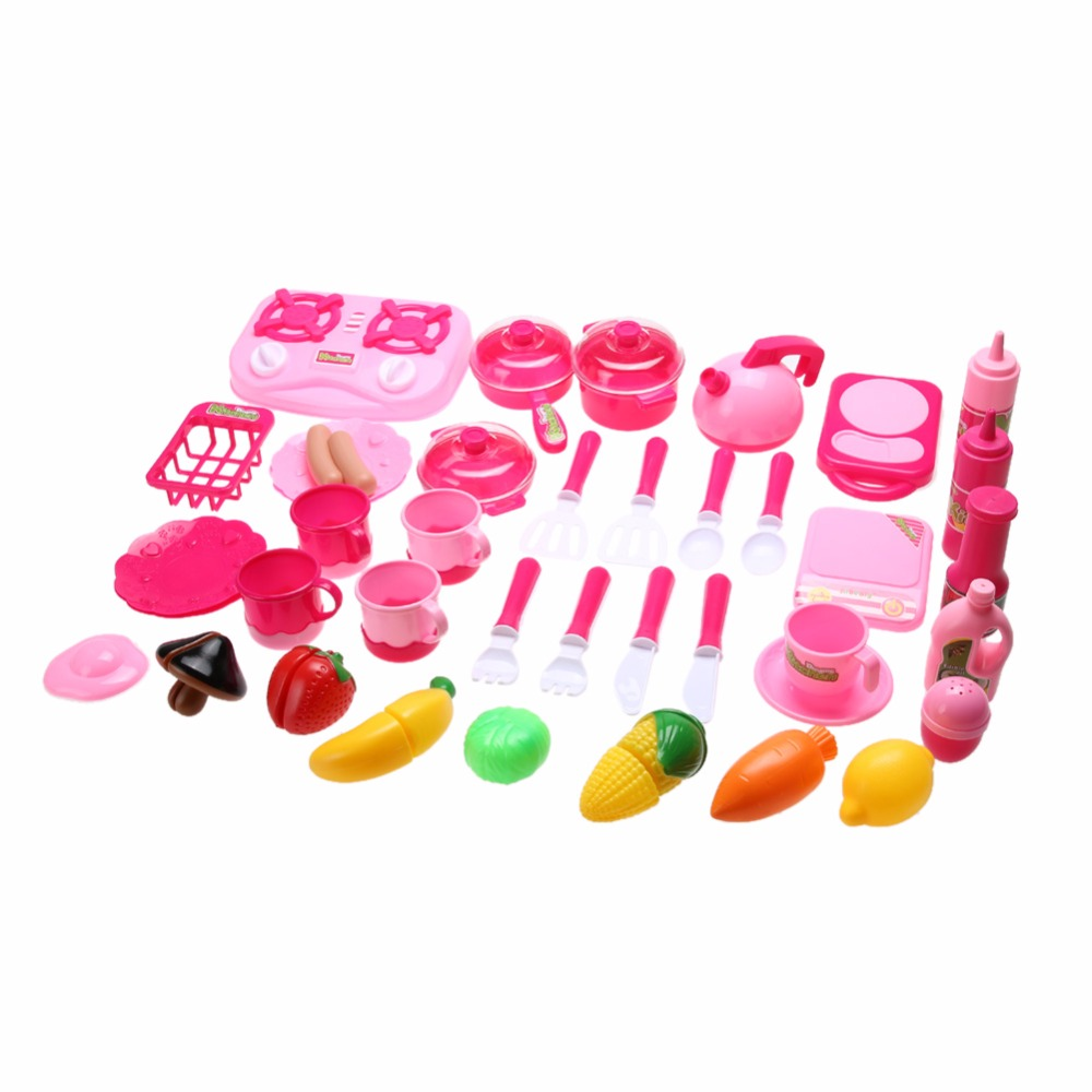 40Pcs/Set Kids Girls Kitchen Toy Simulation Cook Role Play Pretend ...