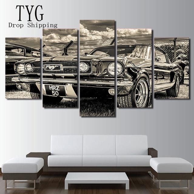 HD Print Artwork Modular Modern Sports Car Poster Home Decor Wall Art 5 Pieces Pictures 1965 Ford Mustang Canvas Painting