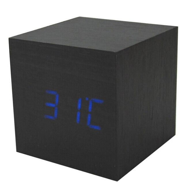 GSFY-Wood Cube LED Alarm Control Digital Desk Clock Wooden Style Room Temperature Black wood blue led