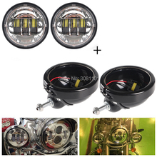 """Pair 4.5"""" LED Fog Passing Light with Lamp Housingl for Harley Road King Heritage Softail Electra Glide Ultra Indian Chief"""