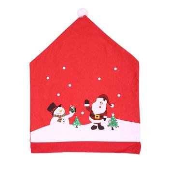 Christmas Chairs Cover Santa Claus Cap Non-woven Dinner Table Red Hat Chair Back Covers Xmas Christmas Decorations For Home 1