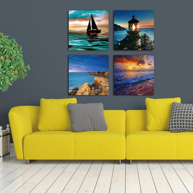 Canvas Prints Wall Art Decor 4 Panel Modern Ocean Art Reproductions ...